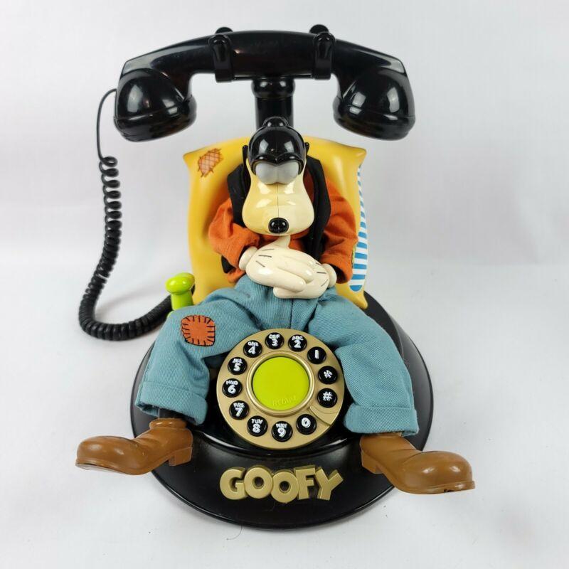 Vintage Telemania Disney Animated Talking Sleeping Goofy Corded Telephone Read