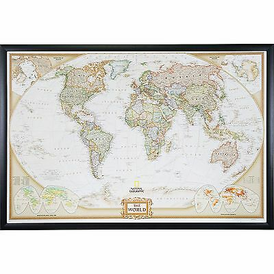 Craig Frames, Executive World Push Pin Travel Map with Pins - 24 x 36 (World Maps With Pins)