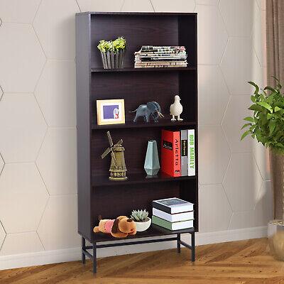 HOMCOM 4-Tier Bookcase Free Standing Bookshelf Wooden Display Storage Shelves