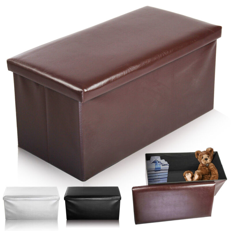 double large 2 seater ottoman storage box faux leather
