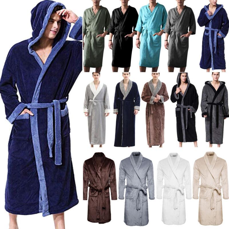 Mens Womens Fleece Plush Robe Bathrobe Towelling Spa Gown Ki