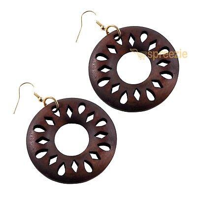 Designer Wood Earrings - Women's Earrings Round Wood Cut Out Design Dangle Drop Jewelry Fashion 2