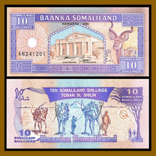 Somaliland 10 Shillings (Shillin), 1996 P-2b Camel Caravan Gazelle Unc