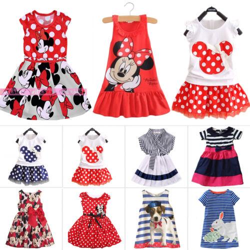 Bambini Minnie Mouse Vestito Festa MAGLIA ESTIVA Gonna prendisole 1-7 anni