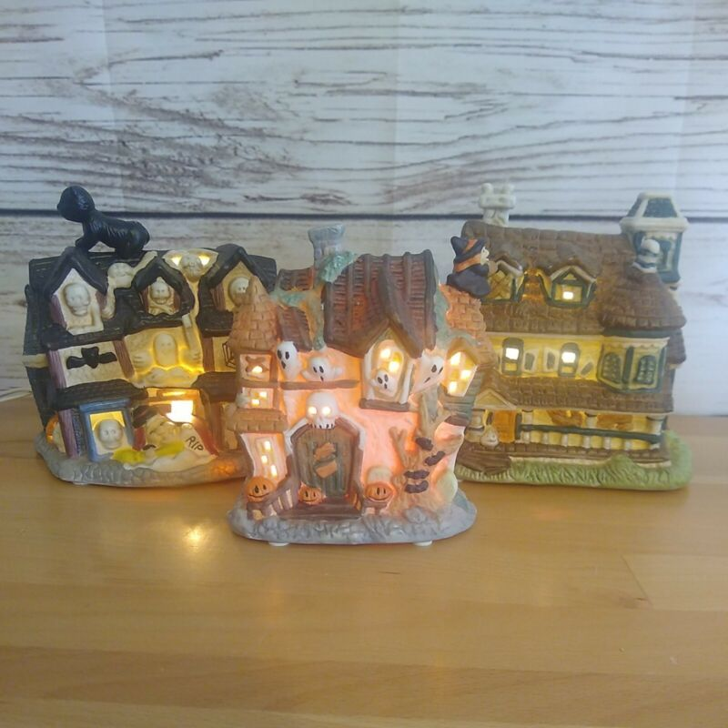 Lot Of 3 Lighted Ceramic Haunted Halloween Houses