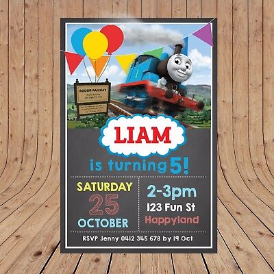 Personalised DIGITAL THOMAS THE TANK ENGINE Kids Party Invitations YOU PRINT (Thomas The Tank Engine Party)