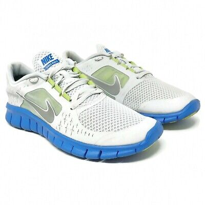 Nike Free Run 3 GS Running Shoes Size 6Y Youth Big Kids Silver Blue Lace Up
