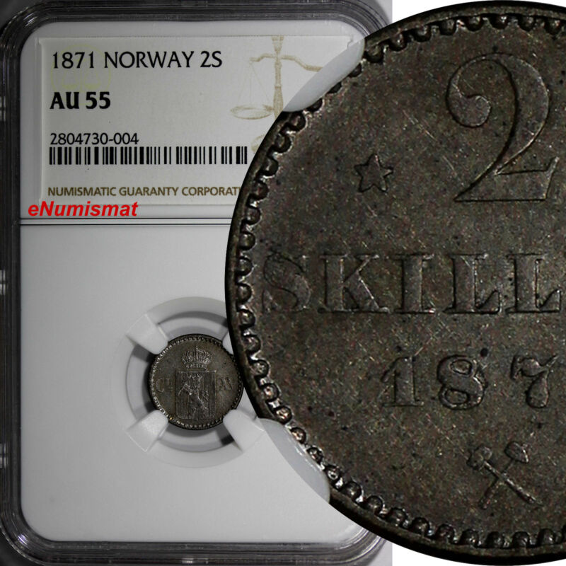 Norway Silver 1871 2 Skilling NGC AU55 1 YEAR TYPE BETTER VARIETY KM# 336.2