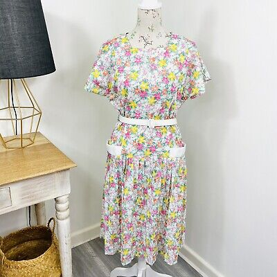 80s Dresses | Casual to Party Dresses Vintage Floral Handmade Womens Shift Dress Short Sleeve Pleated Size 16 18 $27.27 AT vintagedancer.com