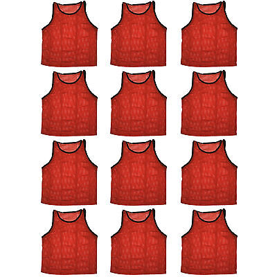 12 SCRIMMAGE VESTS PINNIES SOCCER ADULT RED ~ NEW!