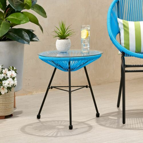 Chrissy Outdoor Modern Faux Rattan Side Table with Tempered Glass Top Home & Garden