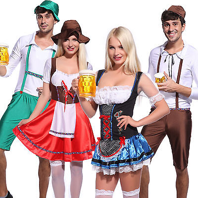 Mens Ladies Oktoberfest German Beer Maid Wench Costume Halloween Fancy Dress - German Beer Wench
