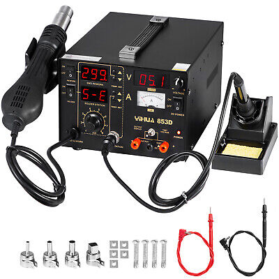Yihua 853d Bga Rework Station Hot Air Gun Soldering Iron Dc Power Supply 800w