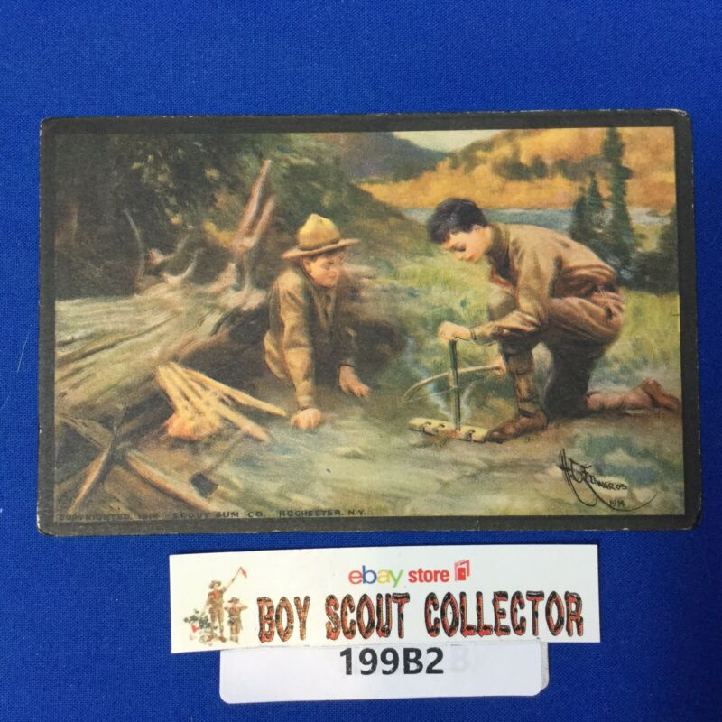Boy Scout Vintage Postcard The Build Of Fire Without Matches