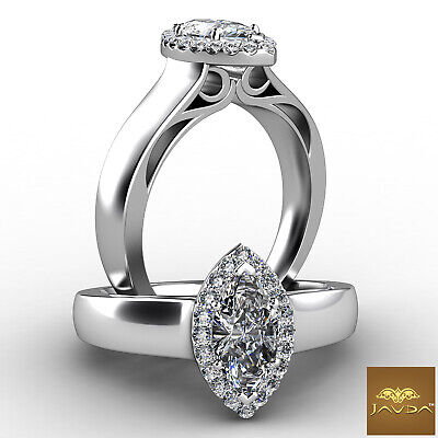 Halo Filigree Marquise Diamond Engagement French Pave Set Ring GIA F VS1 0.92Ct