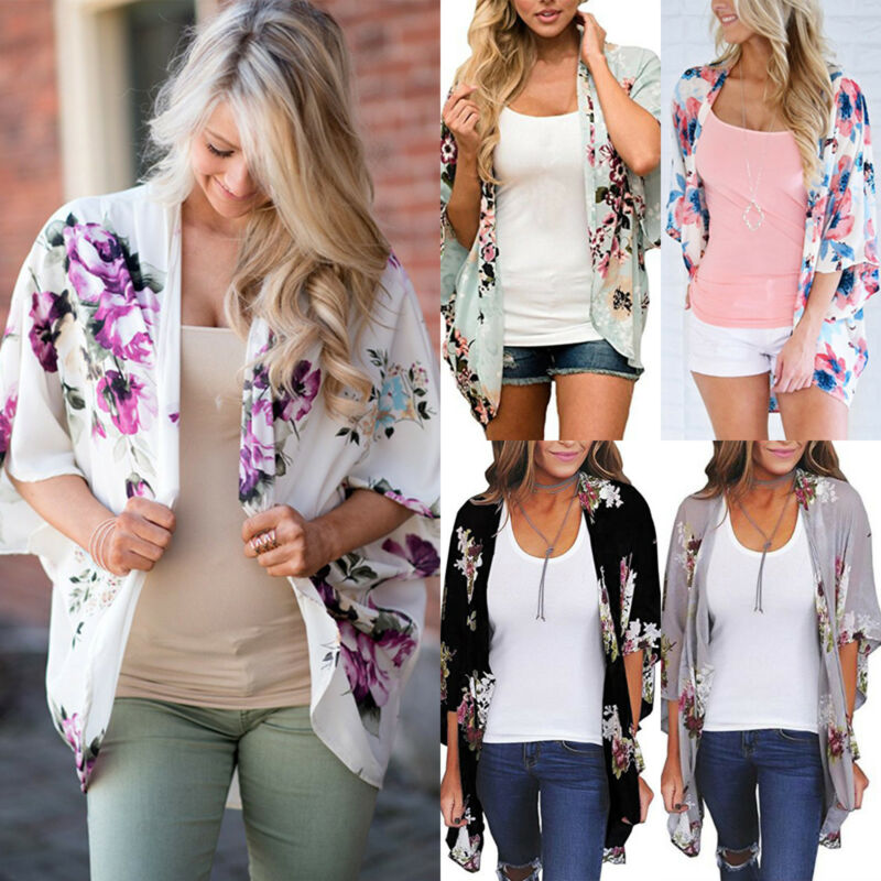 Fashion Women Boho Floral Loose Shawl Kimono Cardigan Tops C