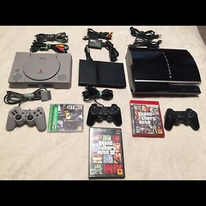 PlayStation console collection 3 consoles 3 controllers 3 games