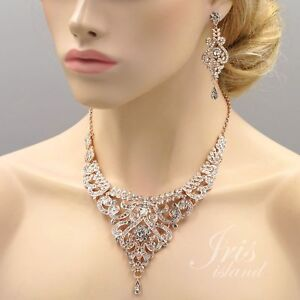 9bd51544a Rose Gold Plated Crystal Pendant Necklace Earrings Wedding Jewelry Set 01020