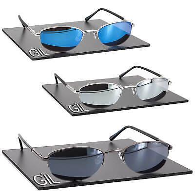 Schmale flache Herren Damen Sonnenbrille Metall Rahmen Verspiegelt Federbügel