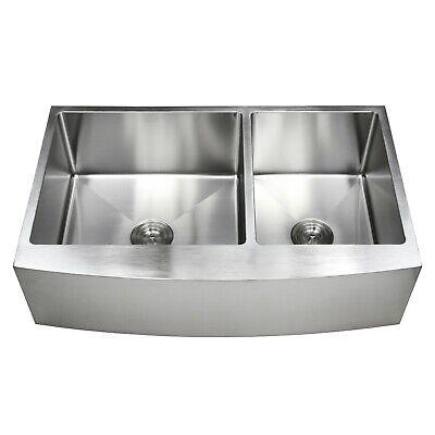 "33"" Stainless Steel Farmhouse Apron Kitchen Sink 60/40 Offset Bowls 16 Gauge"