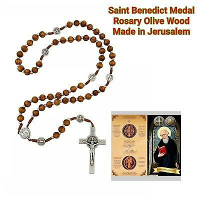 Car Protection.One Decade Rosary. St Benedict Catholic Olive Wood Rosary Jerusalem Olive Wood First Communion Gift For Boy