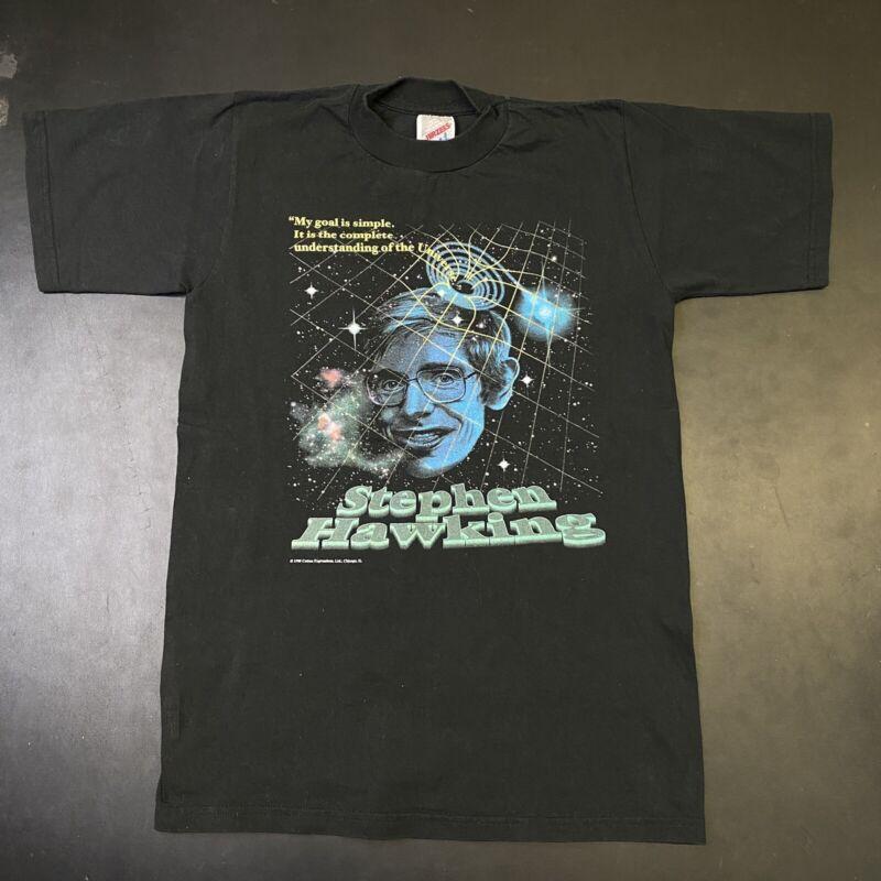 Vintage Stephen Hawking Shirt 1995 90s A Black Tech Earth Science Art Graphic