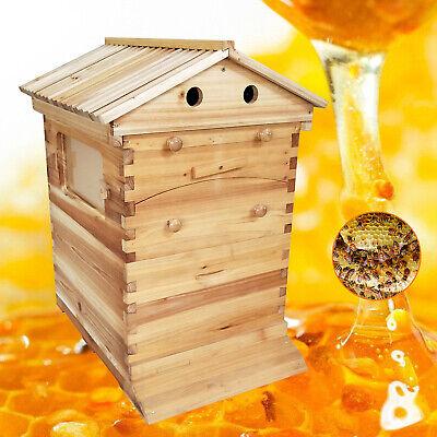 New Bee Hive House Auto Honey Frames Beehive Beekeeping Brood Wooden Box Kit Us