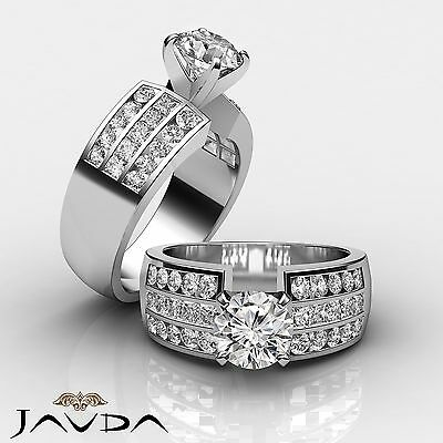 3 Row Channel Set Round Natural Diamond Engagement Ring GIA Certified G SI1 2Ct