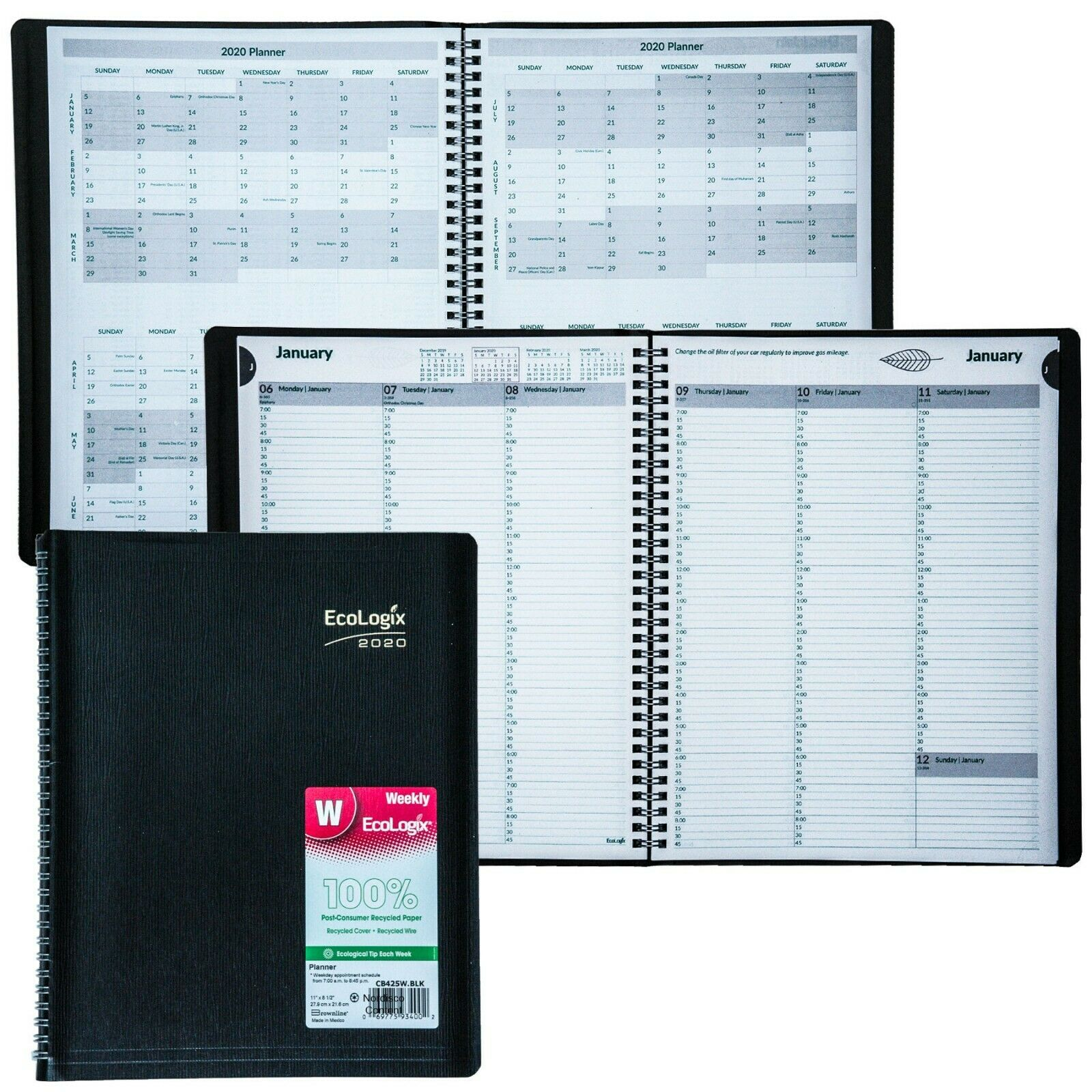 2020 Brownline EcoLogix CB425W.BLK Weekly Appointment Book,