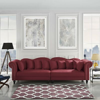 Chesterfield Large Living Room Sofa, Classic Velvet Upholstered Couch, Rose Red Cherry Living Room Sofa