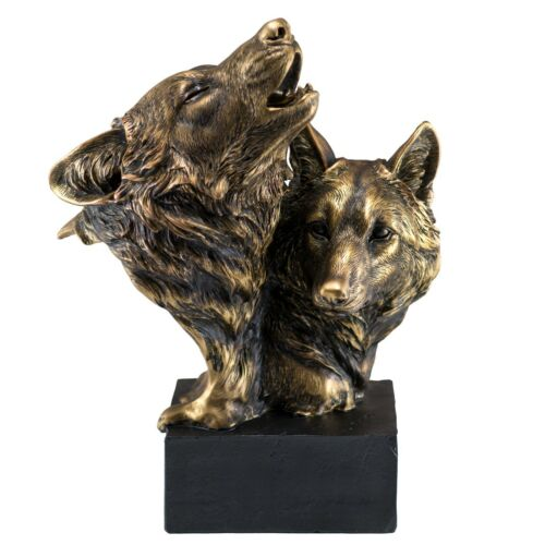 "Bronze/Gold Tone Wolf Head Bust With 2 Wolves Figurine Statue 8.75""H Resin New"