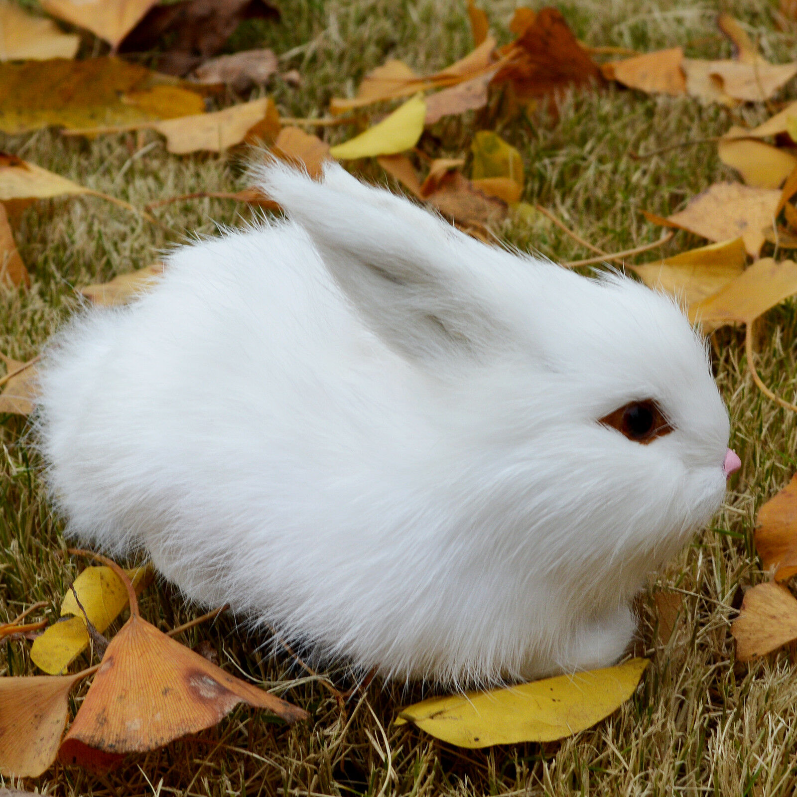 Mini Realistic Cute White Plush Rabbits Fur Lifelike Animal
