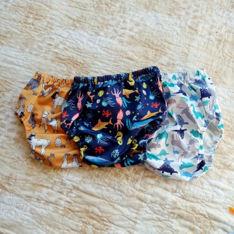 Lot Of 3 Diaper Covers, Llama, Under the Sea Creatures Fish, Dinosaurs, Used
