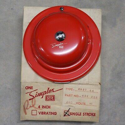 Simplex Str 4027-44 4 Red Single Stroke Bell Part 624-238 240v Ac Nos W Mount