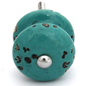 Button knob home furniture diy ebay for Turquoise door knobs