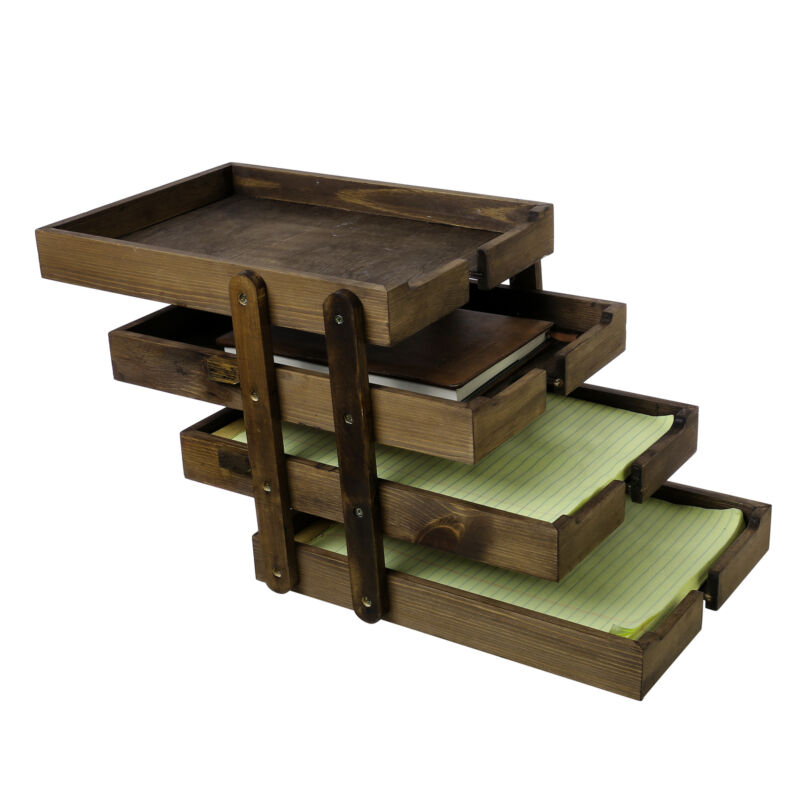4 Tier Collapsible Wood Document Tray Organizer, Expandable Office File Holder
