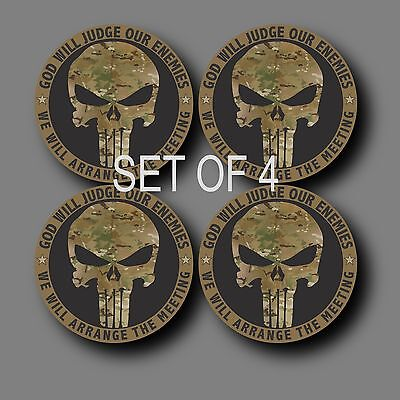 "Set of 4 Punisher Multicam 2"" Phone Yeti Decal Sticker"