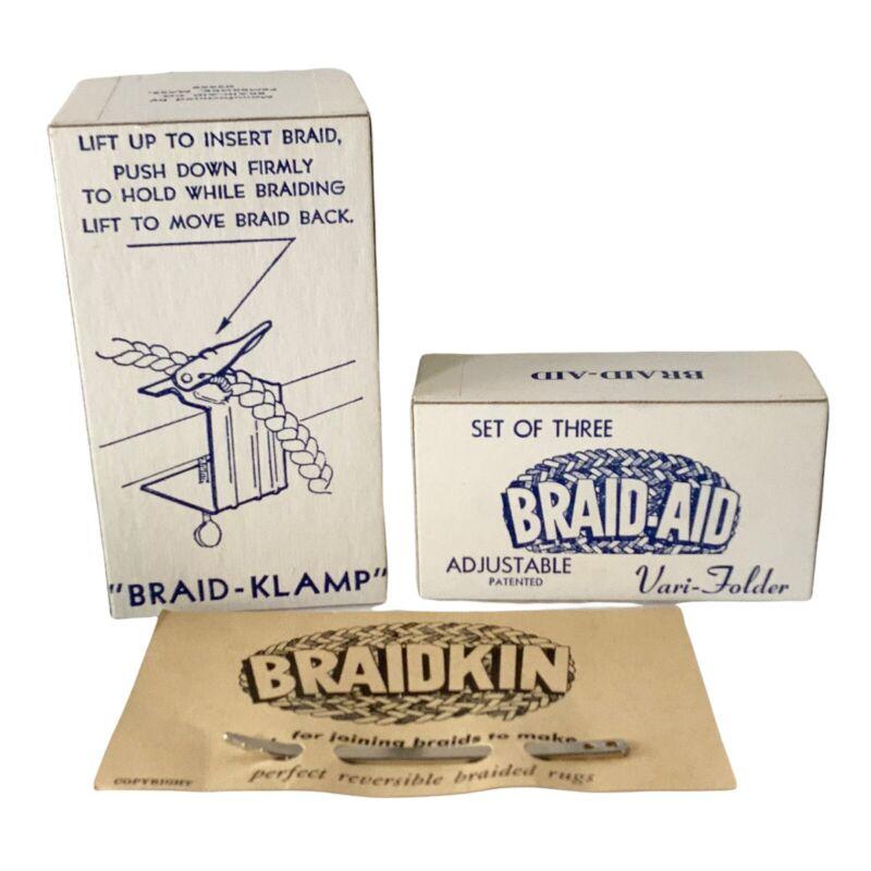 Vintage Braid Klamp, Braid-Aid Vari Folder (2) And Braidkin Set For Braided Rugs
