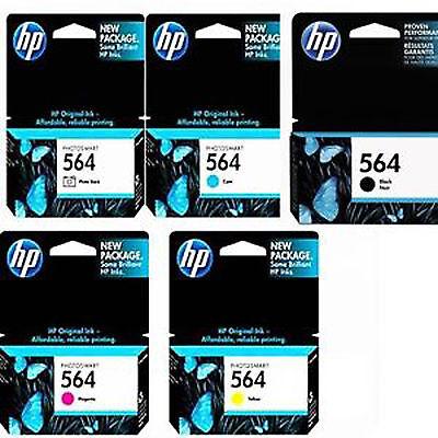 5 Pack Genuine HP 564 Full Set Black Photo Cyan Magenta Yellow Ink Cartridges