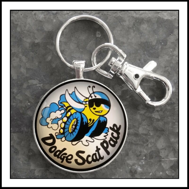 Vintage Dodge Scat Pack Emblem Photo Keychain Gift Fob Key Chain