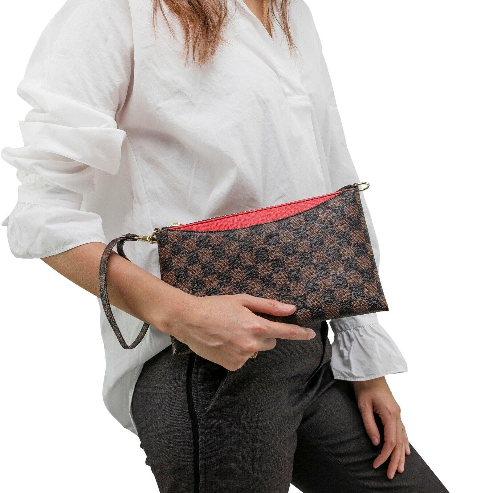 luxury checkered crossbody bag wristlet clutch leather
