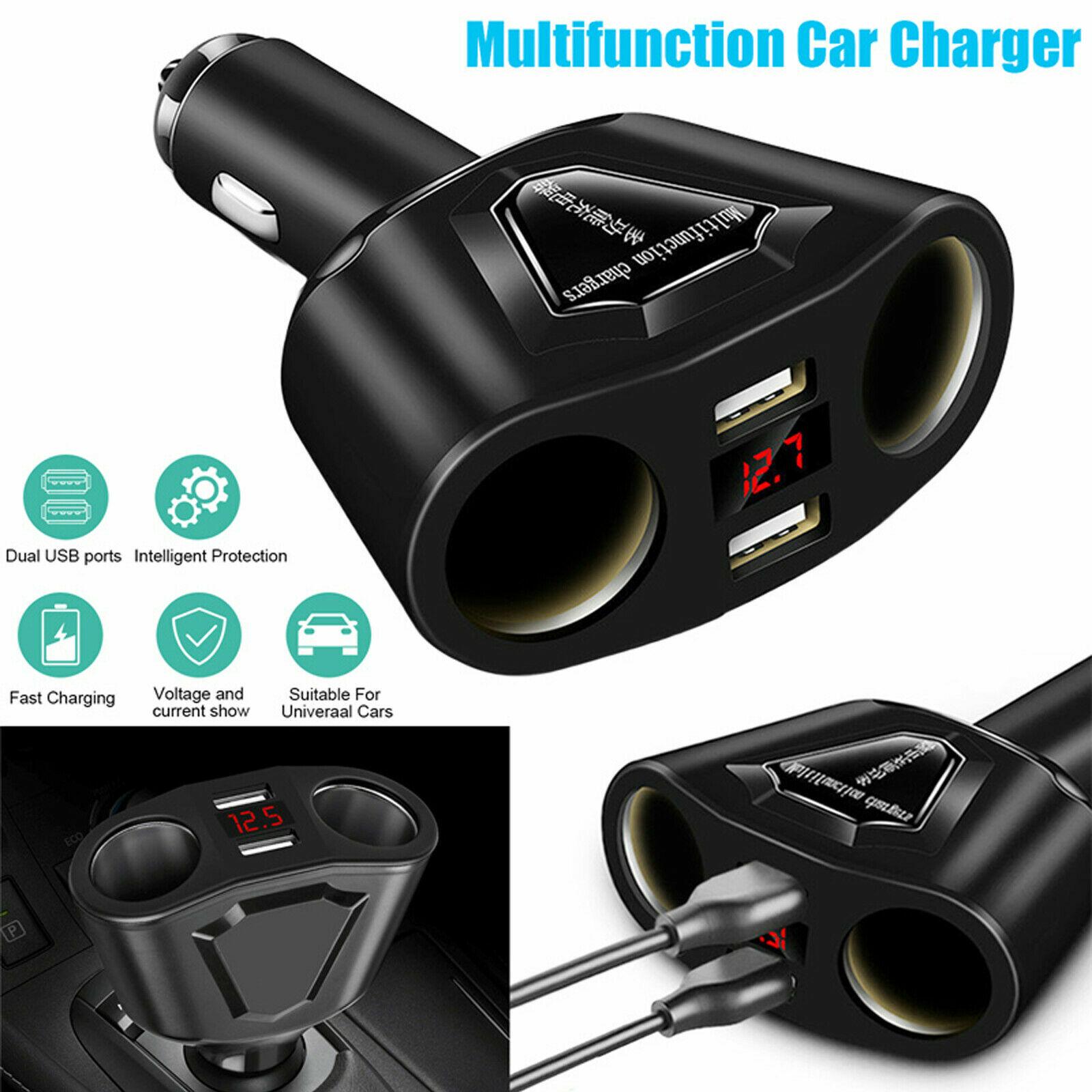 Car LCD Cigarette Lighter Socket Splitter Dual USB Charger Power Adapter DC 12V Car Electronics Accessories