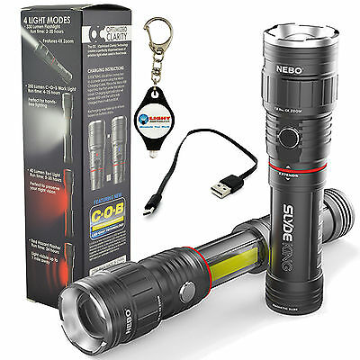 Nebo Slyde King 6434 Rechargeable LED Flashlight Adjustable Zoom + Keychain