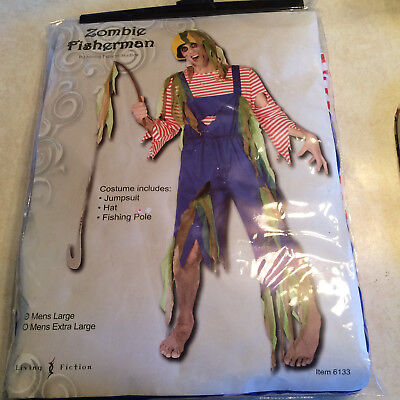 Adult Halloween costume Zombie Fisherman size Mens Large preowned BIN I (Fisherman Halloween Costumes)