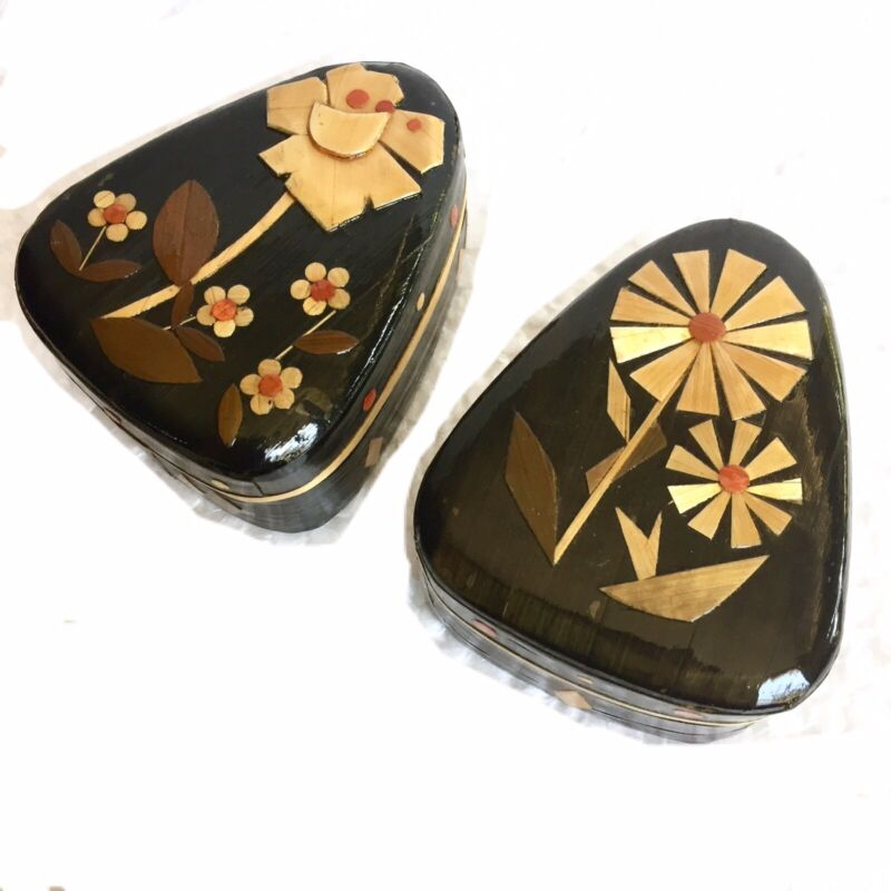 Chinese Paper Mâché Trinket Box Groovy Jewelry Floral Bamboo Lacquer Set Of 2