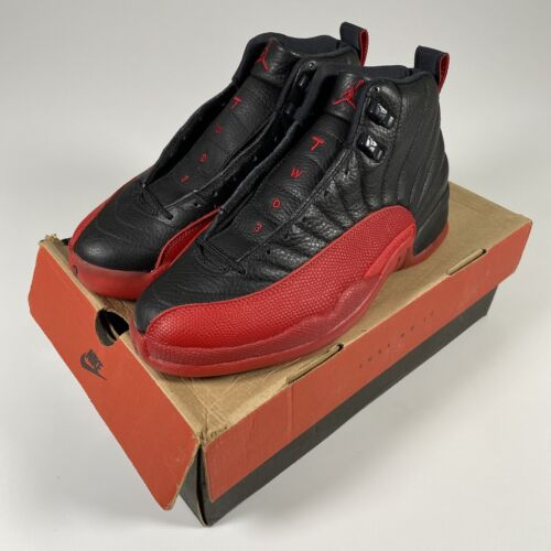 Vintage Original Nike Air Jordan 12 XII Black Red Bred Flu Game Shoes Size 9.5