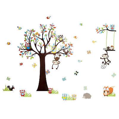 Wandtattoo Wandsticker Kinderzimmer XXL Deko Tiere Kinder Wald Affe Baum Baby
