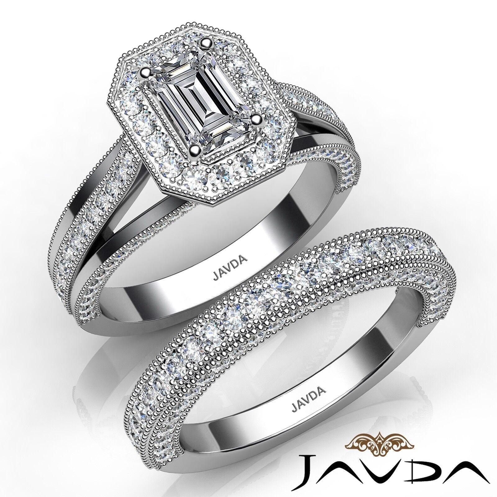 2.11ctw Milgrain Bridal Set Emerald Diamond Engagement Ring GIA E-VVS1 W Gold