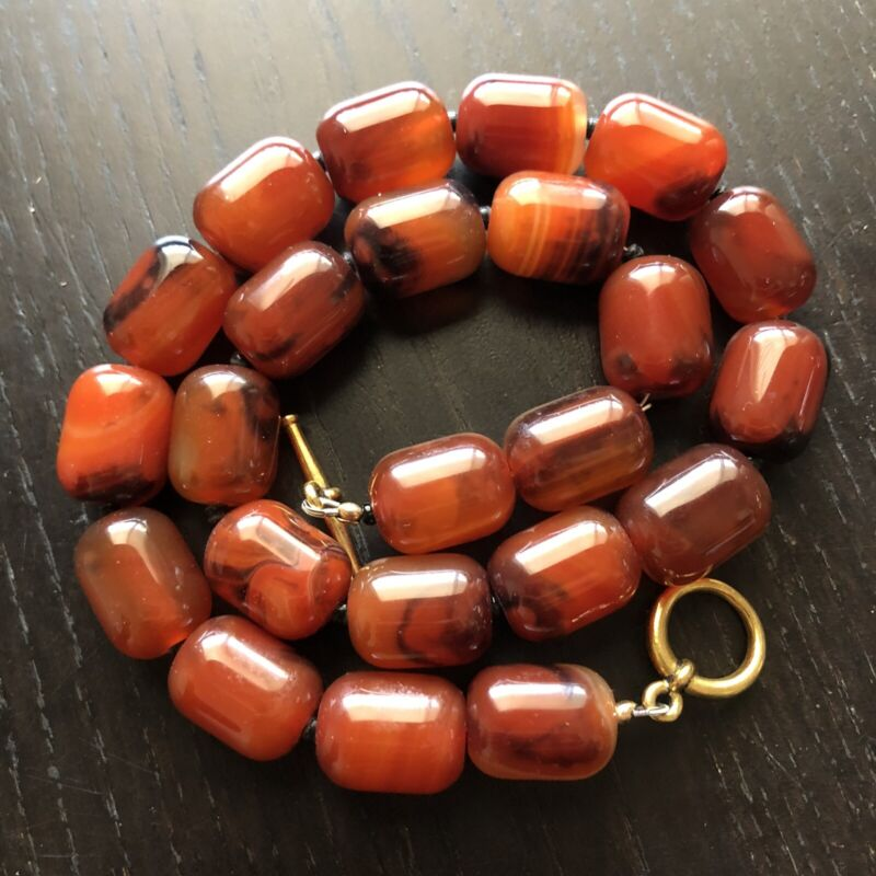 Fine Vintage Carved LARGE Red Carnelian Agate Beaded Necklace Chunky Runway