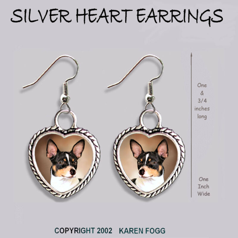 RAT TERRIER DOG - HEART EARRINGS Ornate Tibetan Silver